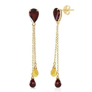GOLD CHANDELIER EARRING WITH GARNETS & CITRINES